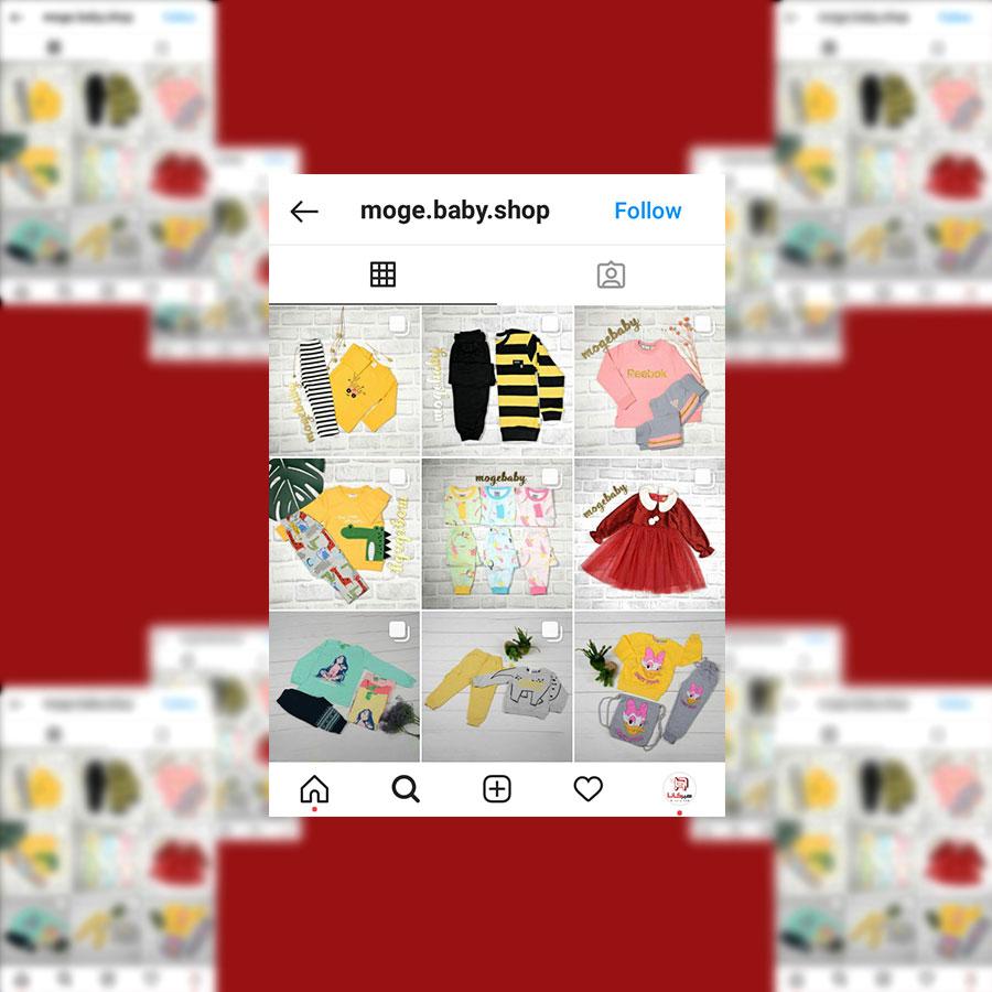 نمونه کار مدیریت و طراحی پیج پوشاک کودک Moge Baby